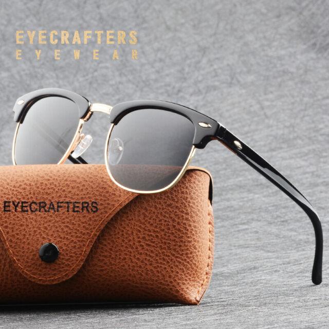 Retro Vintage Polarized Sunglasses Mens UV400 Half Metal Frame Club Sunglasses