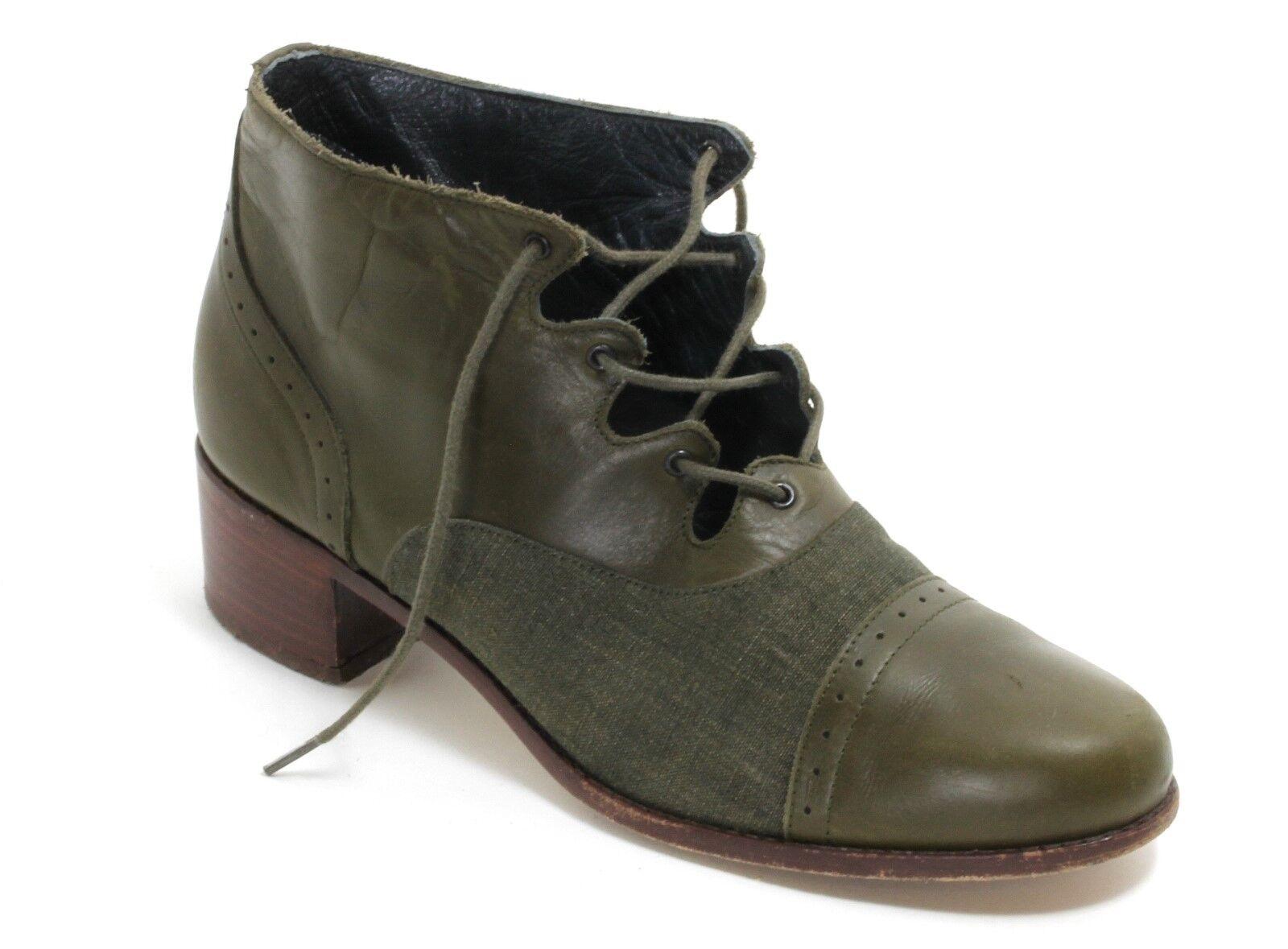Leder Vintage Schnürschuhe Schnürstiefelette Olivgrün Stoff Jeans Lochmuster 37