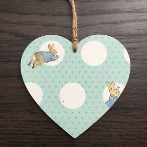 Details about Peter Rabbit Decoupaged Wooden Hanging Hearts Easter  Decoration 10cm