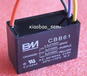 UL CBB61 CEILING FAN CAPACITOR 5uf+5uf 4 WIRE 250VAC BM