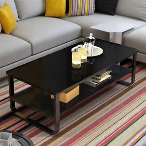 2 Tier Modern Coffee Table Steel Frame End Tables Living Room Tables Side Table