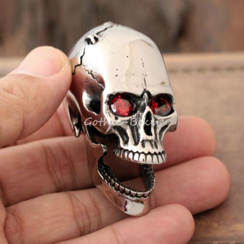 Hommes énorme 3D Crâne Rubis CZ Oeil mobile mâchoire en Acier Inoxydable Chaîne Collier Sautoir Pendentif