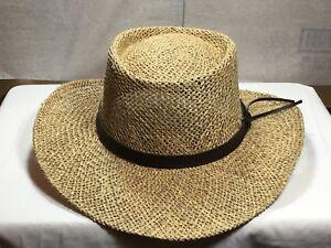 580f30acf10 New Mens Stetson Gambler Wheat Straw Hat Leather Band size L XL ...