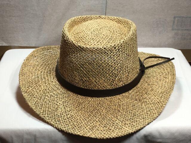 Buy Mens Stetson Gambler Wheat Straw Hat Leather Band Size L xl ... 34cbb3f73fd