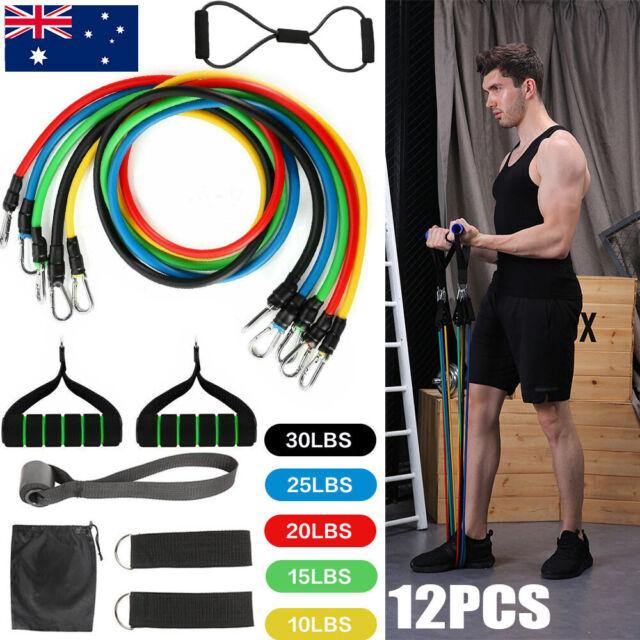 12 PCS Resistance Band Set Yoga Pilates Abs Exercise Fitness Tube Workout Bands