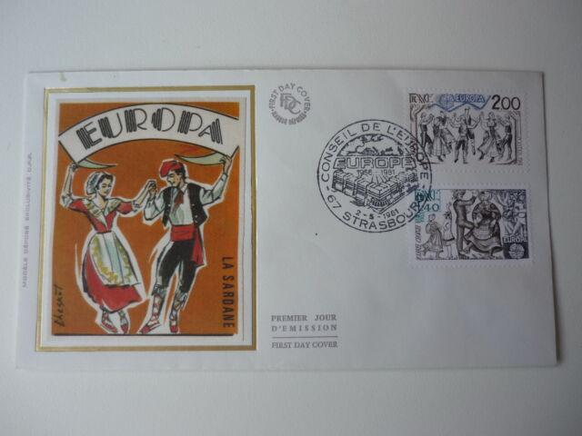 ENVELOPPE 1er JOUR FDC SOIE 1981 EUROPA 2TP 1,40 & 2,00 OBLIT ILLUST STRASBOURG