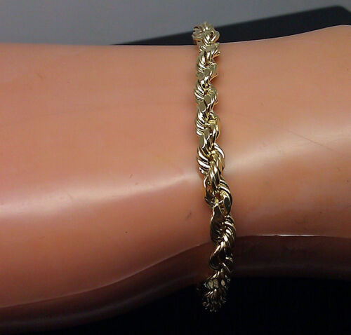 Brand New 10K Yellow Gold Men/'s Thick Rope Bracelet 9 Inches Long 4mm