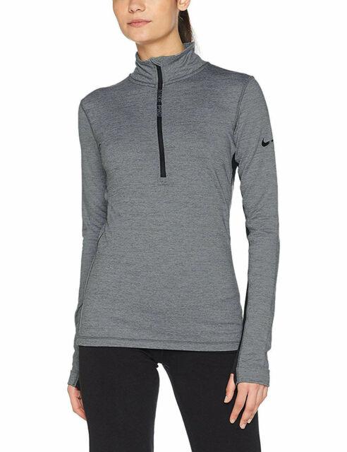 NWT NEW Nike Women's Pro Hyperwarm Long Sleeve 12 Zip Training Top Gray Black M