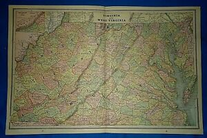 Vintage-1892-MAP-VIRGINIA-WEST-VIRGINIA-Old-Antique-Original-Atlas-Map