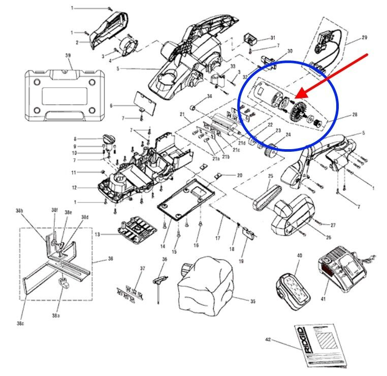 230122001 RIDGID Motor Assembly 18VDC 4.6A Johnson  R848 Cordless Planer