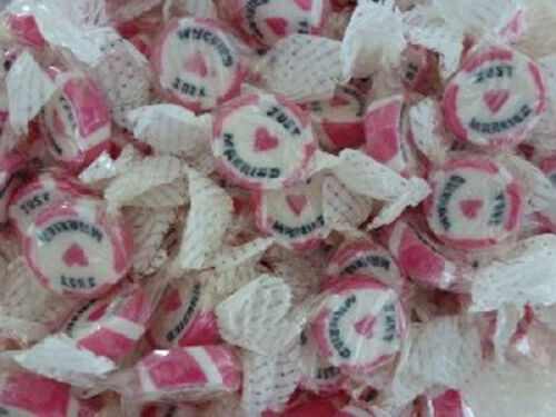 PINK JUST MARRIED ROCK SWEETS WEDDING FAVOURS X70