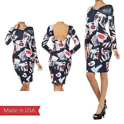 Women Sexy Mysterious Red Lips Manicure Chic Collage Art Girls Bodycon Dress USA