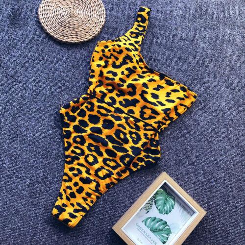 Woman padded Bra Monokini one shoulder Swimwear sleeveless leopard skin printed