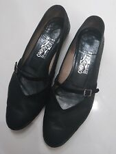 Salvatore Ferragamo Audrey Buckled Black Leather Ballet Flats size 8 1/2