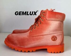 info for 59833 e5436 Details about OFF-WHITE x TIMBERLAND Orange Velvet Boots Size 43 UK 8.5 -  US 9