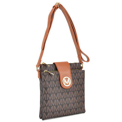 New Womens Handbag Monogram Logo Faux Leather Messenger Bags Crossbody Bag Purse