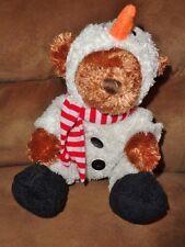 "Bear in Snowman costume 2007 Animal Adventure Christmas 8"" stuffed plush toy"