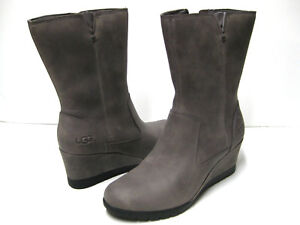 Image is loading UGG-JOELY-WOMEN-WATERPROOF-WEDGE-BOOTS-LEATHER-CHARCOAL-