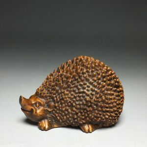 Collect decor old natural boxwood hand carving lovely hedgehog statue figurines
