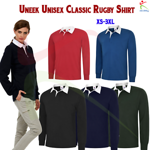 Men-039-s-Long-Full-Sleeve-Classic-Rugby-Shirt-Plain-Cotton-Casual-Sports-Work-TOP