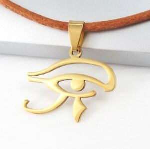 Gold-Egypt-Eye-Of-Horus-Ra-Udjat-Egyptian-Pendant-Brown-Leather-Tribal-Necklace