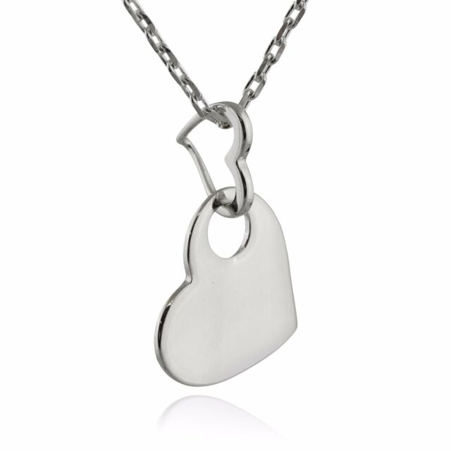 Double Heart Necklace - 925 Sterling Silver - Love Two Hearts Connected Gift NEW