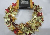 Fall Thanksgiving Small Maple Foil Leaf 9ft Garland Gold Orange Decoration Decor