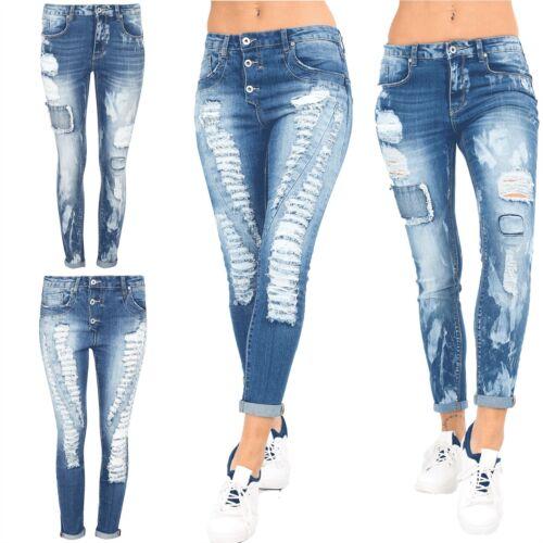 Donna Effetto Invecchiato Strappato Sbiadito Zip PANTALONE SKINNY FIT PANTALONE Denim Jeans