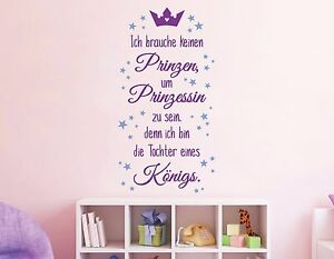 wandtattoo kinderzimmer m dchen prinzessin krone wandspruch bunte sterne pkm170 ebay. Black Bedroom Furniture Sets. Home Design Ideas