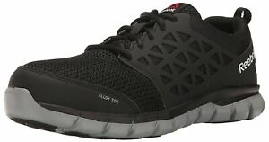 Reebok-Work-Mens-Sublite-Cushion-Low-Top-Lace-Up-Running-Black-Size-9-0-L3le
