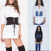 Fashion Women Elastic Extra Wide Corset Tie High Waist Slim Abdominal Belt
