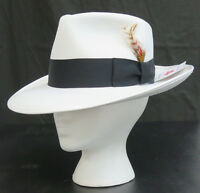 Mens Small White Fedora Zoot Hat W/ Black Band Made In Usa Gangster Costume