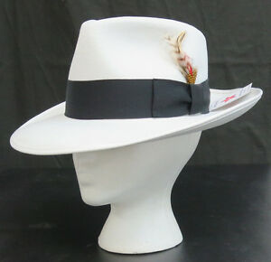 New White Fedora Zoot Hat w  Black Band Trilby Wide Brim Made in USA ... 3498b6bd42e