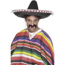 Black Straw Sombrero Hat Fancy Dress Mexican Spanish Western Cowboy Large Unisex