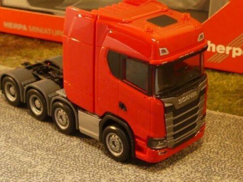 1//87 Herpa Scania CS HD Lourd Poids machine 4-Axe Rouge 308601