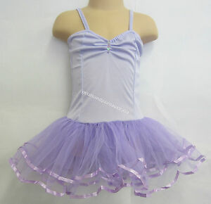 Fairy Dress Ballet Tutu Dance Costume Lilac 2-4 Years Polyester Stretch Leotard