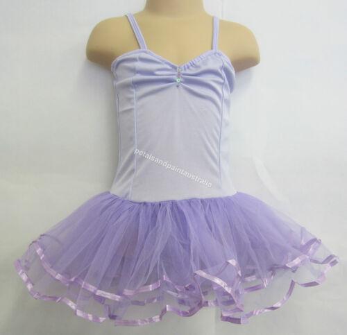 Fairy Dress Ballet Tutu Dance Costume Lilac 2-4 Years Polyester Stretch Leotard
