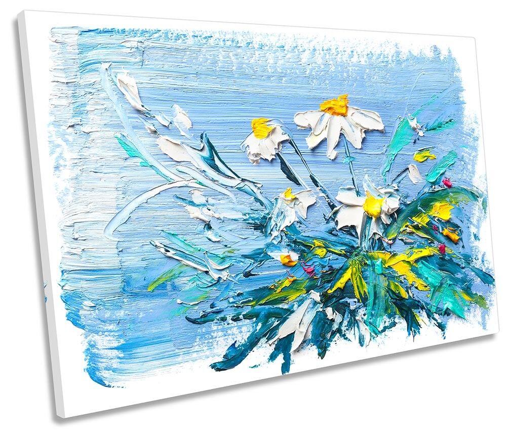 Daisy Daisy Daisy Bianco Fiori Blu Singolo a Muro opera d'arte art print 6120b2