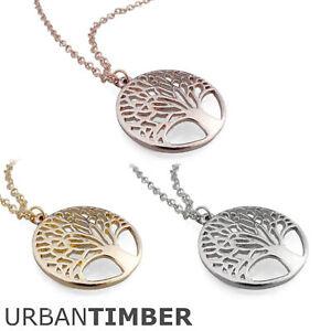 HALSKETTE-LEBENSBAUM-925-Sterling-Silber-vergoldet-Gold-Rosegold-Baum-des-Lebens