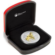 Lunar Serie II Pferd horse gilded 1$ + Box + COA 999Ag 2014 vergoldet 1 Oz Unze