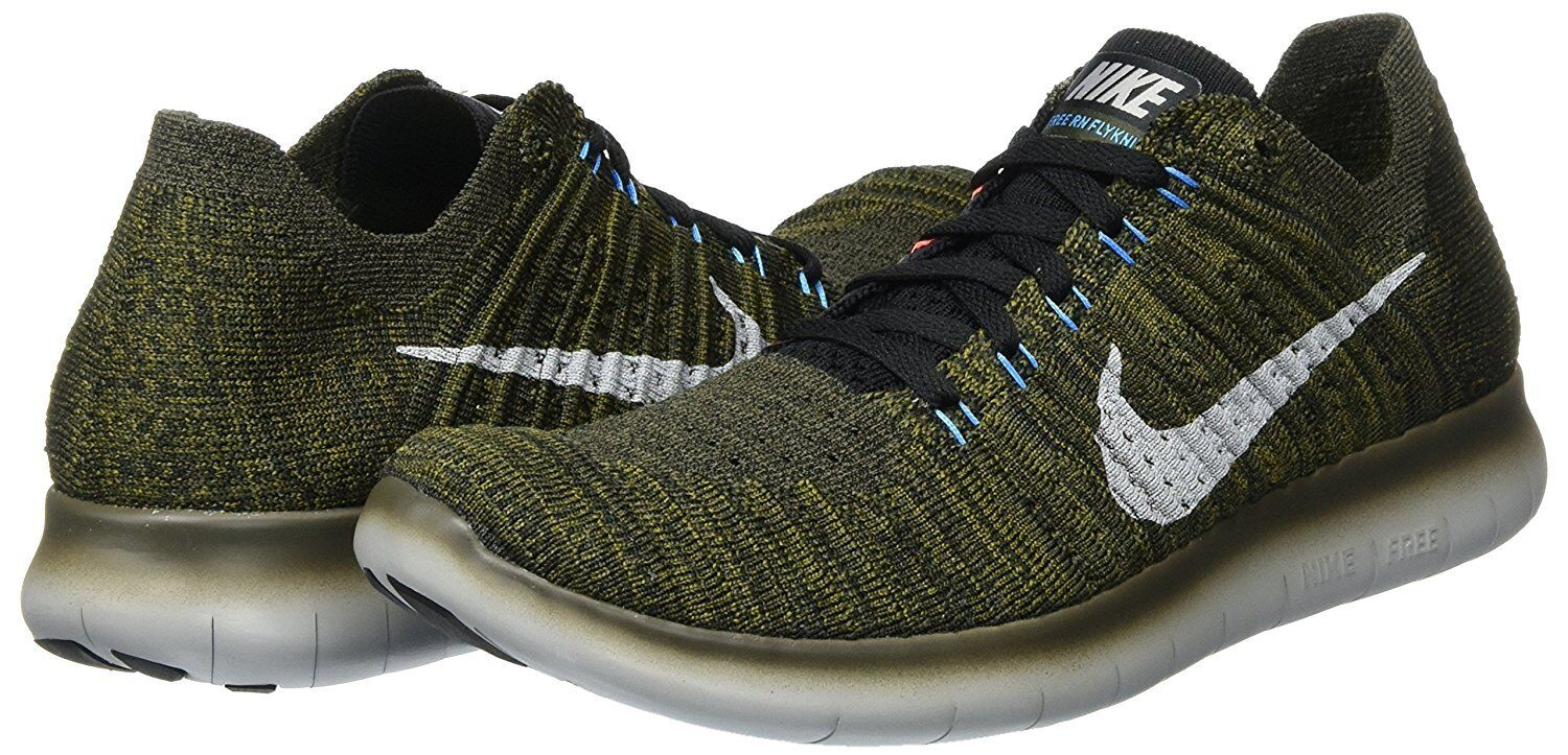 Men's Nike Free RN Flyknit Running shoes, 831069 301 Sizes 8.5-13 Khaki Blk Mang