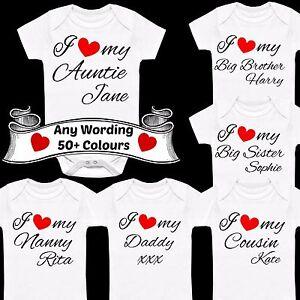 Alerte I Love My Personalised Custom Printed Babygrow Vest Cadeau Tout Nom Texte Coeur-afficher Le Titre D'origine
