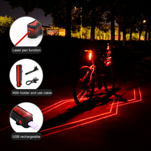 Bicycle Laser Rear Light Night Cycling Safety Warning Bike USB Rechargeable Lamp