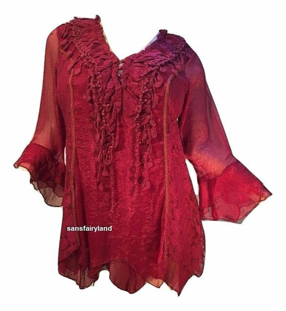 PRETTY ANGEL PLUS SIZE 1X RED/BURGUNDY BLOUSE WITH GORGEOUS DETAIL 10774