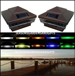 solar post cap deck fence led lights 5x5 or 6x6 painted hammered brown