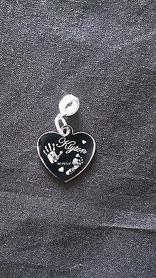 Engraved  Hand & Foot Print Stainless Steel Heart Charm & Round Attachment