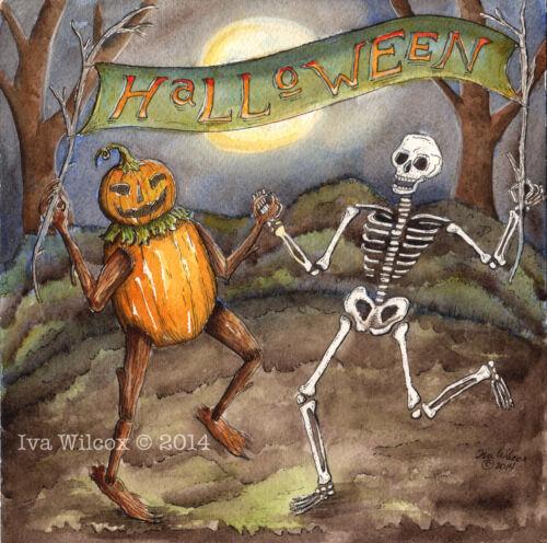 Halloween Dance Skeleton Pumpkin Watercolor PRINT painting by Iva Wilcox EHAG