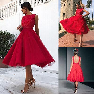 Rot Brautjungfernkleid Hochzeitskleid Damen Midi ...