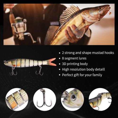 Fishing Lures 8 Segment Fish Bass Minnow Swimbait Tackle Hook Lure Crank Bait US