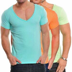 T-shirt-da-Uomo-Scollo-collo-a-V-maglietta-manica-corta-maniche-corte-Nuova-XL
